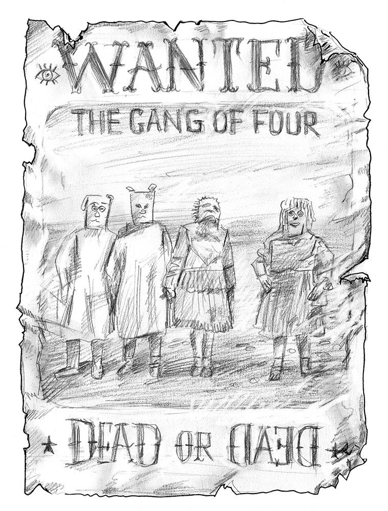 « Gang Of Four » par Winshluss, 4e de couverture, Coédition Frac Aquitaine et Les Requins Marteaux.